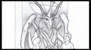 This artist's rendering provided by the Satanic Temple shows a proposed monument that the New York-based Satanic group wants to place at the Oklahoma state Capitol. The statue features a bearded, goat-headed demon sitting in a pentagram-adorned throne with children next to it.